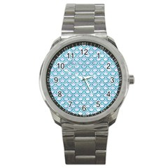 Scales2 White Marble & Turquoise Glitter (r) Sport Metal Watch by trendistuff