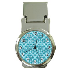 Scales2 White Marble & Turquoise Glitter Money Clip Watches by trendistuff