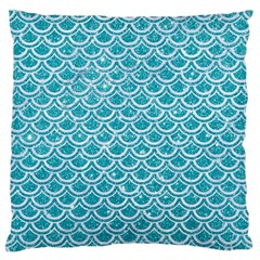 Scales2 White Marble & Turquoise Glitter Large Flano Cushion Case (two Sides) by trendistuff