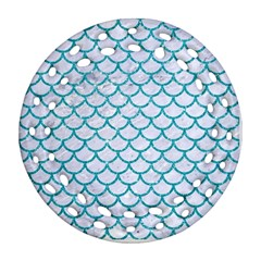 Scales1 White Marble & Turquoise Glitter (r) Ornament (round Filigree) by trendistuff