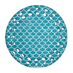 Scales1 White Marble & Turquoise Glitter Ornament (round Filigree) by trendistuff