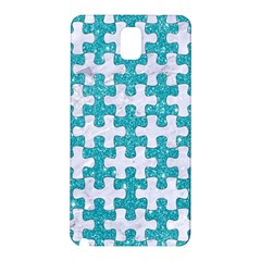 Puzzle1 White Marble & Turquoise Glitter Samsung Galaxy Note 3 N9005 Hardshell Back Case by trendistuff