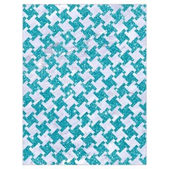 Houndstooth2 White Marble & Turquoise Glitter Drawstring Bag (large) by trendistuff