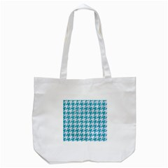 Houndstooth1 White Marble & Turquoise Glitter Tote Bag (white) by trendistuff