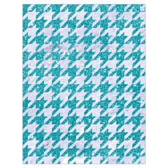 Houndstooth1 White Marble & Turquoise Glitter Drawstring Bag (large) by trendistuff