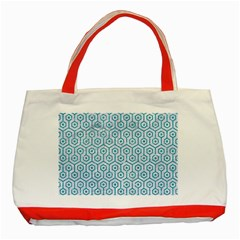 Hexagon1 White Marble & Turquoise Glitter (r) Classic Tote Bag (red) by trendistuff