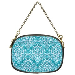 Damask1 White Marble & Turquoise Glitter Chain Purses (two Sides)  by trendistuff