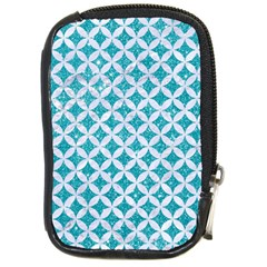 Circles3 White Marble & Turquoise Glitter Compact Camera Cases by trendistuff
