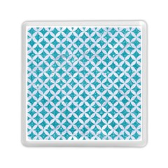 Circles3 White Marble & Turquoise Glitter Memory Card Reader (square)  by trendistuff