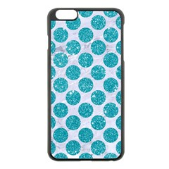 Circles2 White Marble & Turquoise Glitter (r) Apple Iphone 6 Plus/6s Plus Black Enamel Case by trendistuff