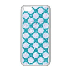 Circles2 White Marble & Turquoise Glitter Apple Iphone 5c Seamless Case (white) by trendistuff