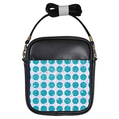 Circles1 White Marble & Turquoise Glitter (r)uoise Glitter (r) Girls Sling Bags by trendistuff