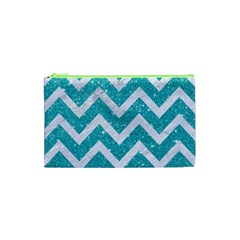 Chevron9 White Marble & Turquoise Glittere Glitter Cosmetic Bag (xs) by trendistuff