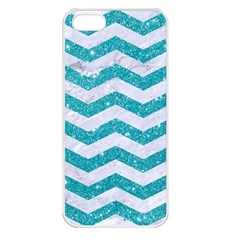 Chevron3 White Marble & Turquoise Glitter Apple Iphone 5 Seamless Case (white) by trendistuff