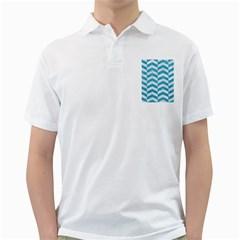 Chevron2 White Marble & Turquoise Glitter Golf Shirts by trendistuff