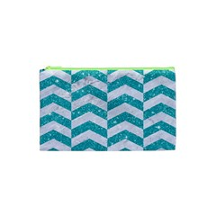 Chevron2 White Marble & Turquoise Glitter Cosmetic Bag (xs) by trendistuff