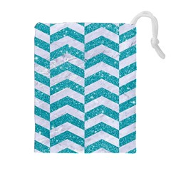 Chevron2 White Marble & Turquoise Glitter Drawstring Pouches (extra Large) by trendistuff