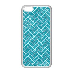 Brick2 White Marble & Turquoise Glitter Apple Iphone 5c Seamless Case (white) by trendistuff