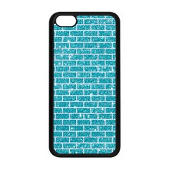 Brick1 White Marble & Turquoise Glitter Apple Iphone 5c Seamless Case (black) by trendistuff