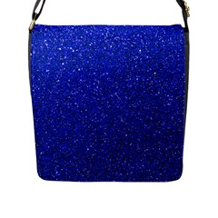 Blue Glitter Flap Messenger Bag (l)  by snowwhitegirl