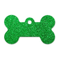 Green Glitter Dog Tag Bone (two Sides) by snowwhitegirl