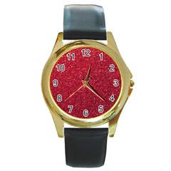 Red  Glitter Round Gold Metal Watch by snowwhitegirl