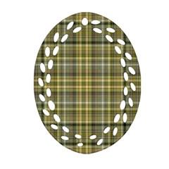 Yellow Plaid Ornament (oval Filigree) by snowwhitegirl