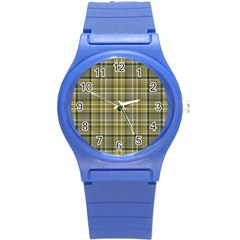 Yellow Plaid Round Plastic Sport Watch (s) by snowwhitegirl