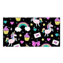 Cute Unicorn Pattern Satin Shawl by Valentinaart