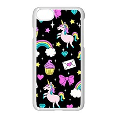 Cute Unicorn Pattern Apple Iphone 8 Seamless Case (white) by Valentinaart