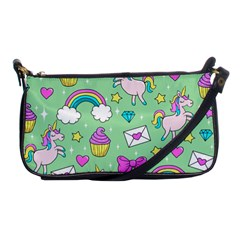 Cute Unicorn Pattern Shoulder Clutch Bags by Valentinaart