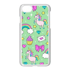 Cute Unicorn Pattern Apple Iphone 7 Seamless Case (white) by Valentinaart