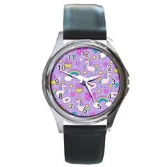 Cute Unicorn Pattern Round Metal Watch by Valentinaart