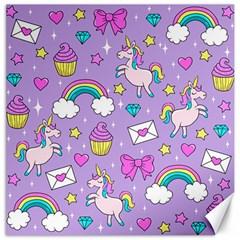 Cute Unicorn Pattern Canvas 20  X 20   by Valentinaart