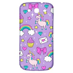 Cute Unicorn Pattern Samsung Galaxy S3 S Iii Classic Hardshell Back Case by Valentinaart