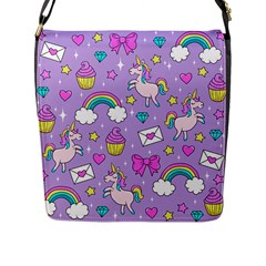 Cute Unicorn Pattern Flap Messenger Bag (l)  by Valentinaart