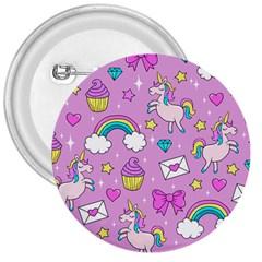 Cute Unicorn Pattern 3  Buttons by Valentinaart