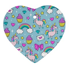 Cute Unicorn Pattern Ornament (heart) by Valentinaart