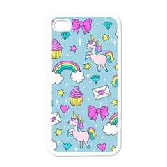 Cute Unicorn Pattern Apple Iphone 4 Case (white) by Valentinaart