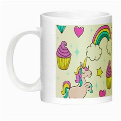 Cute Unicorn Pattern Night Luminous Mugs by Valentinaart