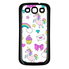 Cute Unicorn Pattern Samsung Galaxy S3 Back Case (black) by Valentinaart