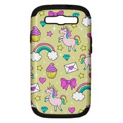 Cute Unicorn Pattern Samsung Galaxy S Iii Hardshell Case (pc+silicone) by Valentinaart