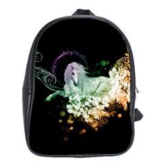 Wonderful Unicorn With Flowers School Bag (xl) by FantasyWorld7