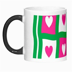 Pink Hearts Valentine Love Checks Morph Mugs by Nexatart