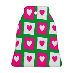 Pink Hearts Valentine Love Checks Bell Ornament (two Sides) by Nexatart