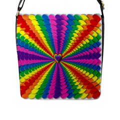 Rainbow Hearts 3d Depth Radiating Flap Messenger Bag (l)  by Nexatart