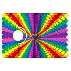 Rainbow Hearts 3d Depth Radiating Kindle Fire Hdx Flip 360 Case by Nexatart