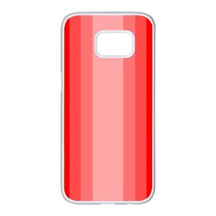Red Monochrome Vertical Stripes Samsung Galaxy S7 Edge White Seamless Case by Nexatart