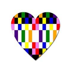 Rainbow Color Blocks Red Orange Heart Magnet by Nexatart