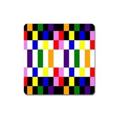 Rainbow Color Blocks Red Orange Square Magnet by Nexatart